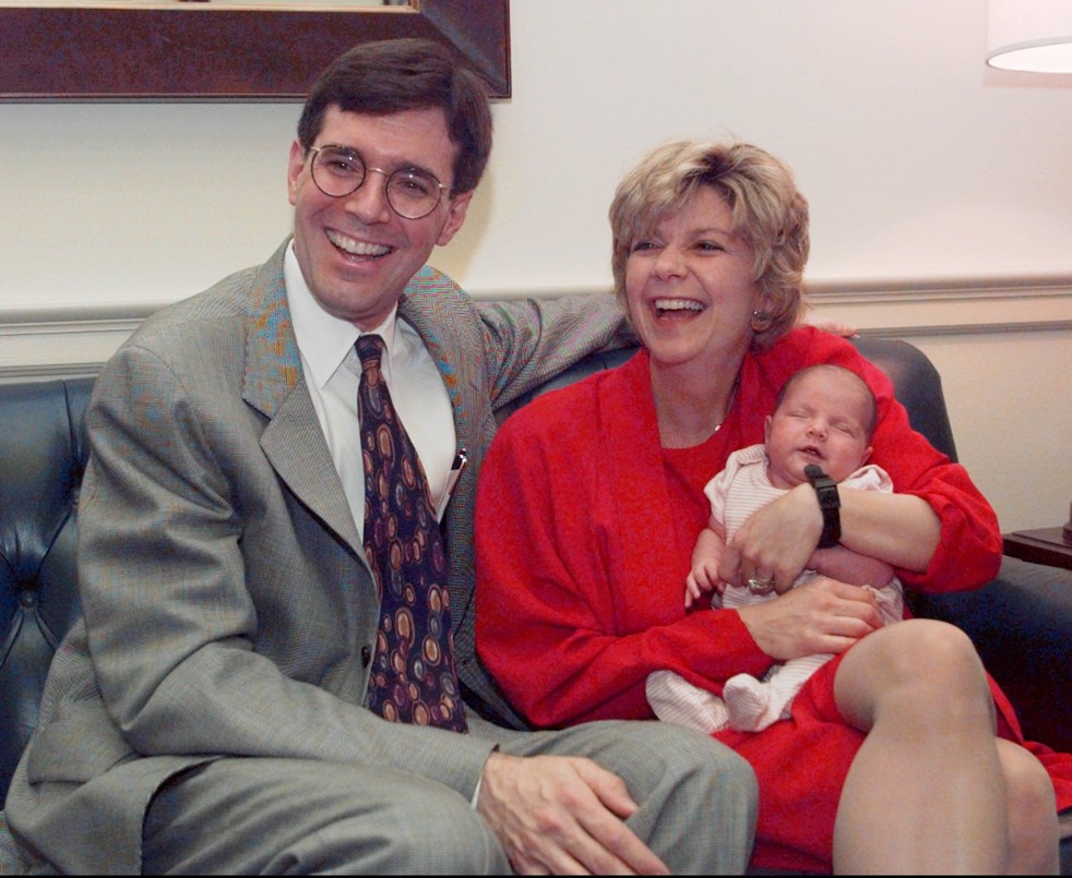 Bill Paxon and Susan Molinari with their daughter Susan Ruby Paxon in 1996. [AP Photo]
