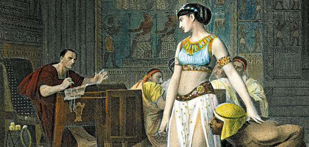 A 19th-century engraving of Julius Caesar and Cleopatra, the Egyptian Queen.