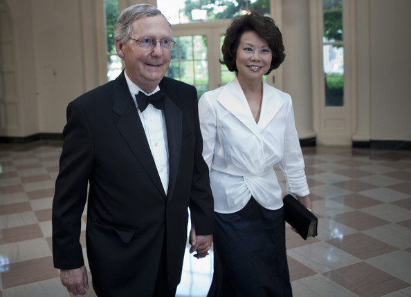 Senate Minority Leader Senator Mitch McConnell and his wife Elaine L. Chao at the White House in 2011.